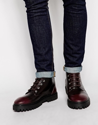 Pull And Bear Pullandbear Lace Up Boots Burgundy
