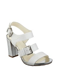 Anne Klein Onmymind Block Heel Leather Sandals White