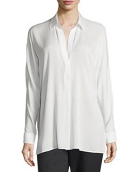 Vince Silk Long Sleeve Popover Blouse Off White