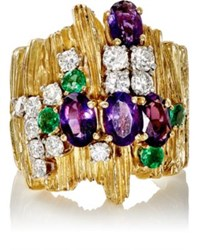 Mahnaz Collection Vintage Women's Multi Gemstone Ring Purple