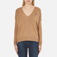Polo Ralph Lauren Women's Boxy V Neck Jumper Dark Beige Heather