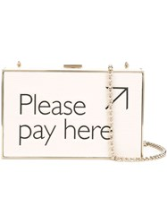 Anya Hindmarch 'Please Pay Here' Imperial Clutch Nude And Neutrals