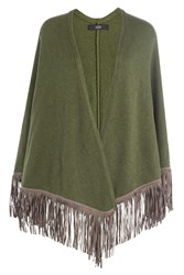 Steffen Schraut Fringed Poncho With Cashmere Green