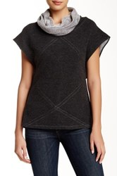 Zoa Short Sleeve Cowl Neck Sweater Gray