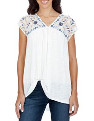 Lucky Brand Embroidered V Neck Cap Sleeve Top Whisper White