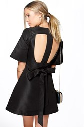 Boohoo Lana Cutwork Kimono Sleeve Dress Black