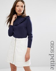 Asos Petite Jumper With Ruffle Front Navy