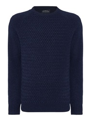 Criminal Textured Crew Neck Pull Over Jumpers Navy Marl
