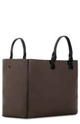 Troubadour Men's Nylon And Leather Tote Bag Brown Khaki Canvas Black Leather