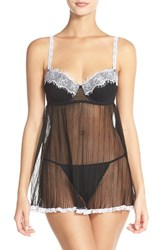 Women's Black Bow 'Emma' Underwire Babydoll Chemise And G String