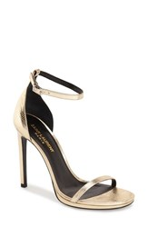 Women's Saint Laurent 'Jane' Ankle Strap Leather Sandal Gold Leather