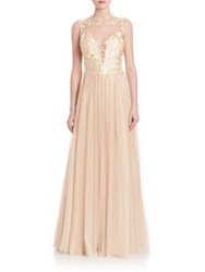 Basix Black Label Illusion Tulle Gown Champagne