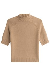 Theory Cashmere Top With Short Sleeves Beige