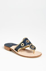 Women's Jack Rogers Whipstitched Flip Flop Navy Gold