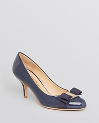 Salvatore Ferragamo Pumps Carla Bow Kitten Heel Oxford Blue