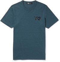 Y 3 Slim Fit Printed Cotton Jersey T Shirt Teal