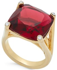 Kate Spade New York Hidden Gems Gold Tone Geometric Crystal Ring Red