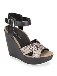 Kenneth Cole Clove Snake Embossed Leather Platform Wedge Sandals Black White