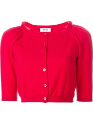 Moschino Cropped Cardigan Red