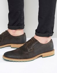 Dune Bunker Leather Derby Brogue Shoes Brown Red