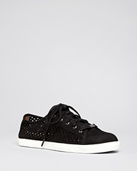 Delman Flat Lace Up Perforated Sneakers Maggie Black