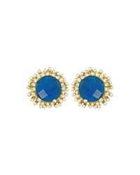 Kendra Scott Carly Blue Agate Stud Earrings