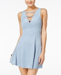 Material Girl Crisscross Faux Suede Fit And Flare Dress Only At Macy's Dream Blue