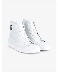 Raf Simons Logo Leather High Top Sneakers White Black Denim