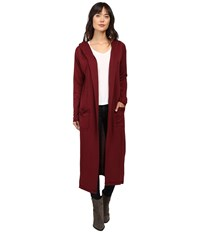 Culture Phit Viviana Long Cardigan Burgundy Women's Sweater