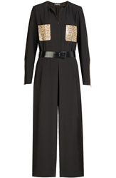 Salvatore Ferragamo Jumpsuit With Snake Leather Pockets