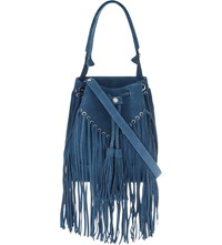 Sandro Fringed Suede Medium Bucket Bag Bleu
