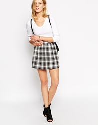 Noisy May Plaid Checked Mini Skirt Black