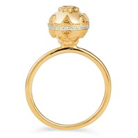Sb London Bella Ball Gold And White Topaz Ring White Gold