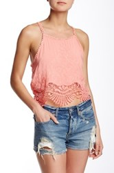 Poof Crochet Hem Embroidered Tank Pink