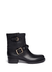 Valentino 'Rockstud' Buckle Strap Leather Ankle Boots Black