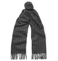 Begg And Co Striped Lambswool Cashmere Blend Scarf Charcoal