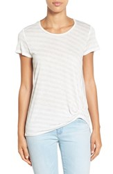 Women's Gibson Twist Front Stripe Tee Heather Grey White