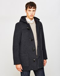 Gloverall Mid Length Check Duffle Coat Charcoal Grey