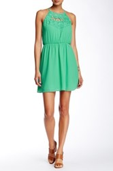 Sequin Hearts Crochet Combo Fit And Flare Dress Green
