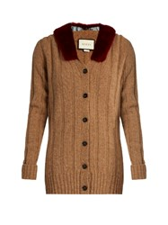 Gucci Wool And Mink Fur Cardigan Tan