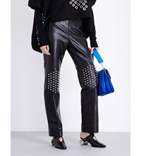J.W.Anderson Jw Anderson Stud Embellished Flared Leather Trousers Black
