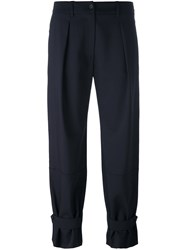 Jil Sander Navy Cropped Pleated Trousers Blue