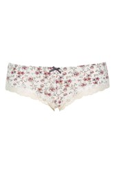 Topshop Flower Microfibre Knickers Ivory
