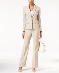 Le Suit One Button Pantsuit Tan