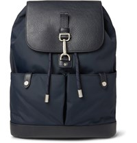 Mulberry Marty Full Grain Leather And Nylon Backpack Blue