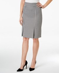 Kasper Houndstooth Pleated Pencil Skirt Black Ivory