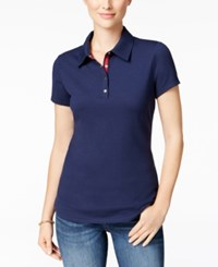 Charter Club Short Sleeve Polo Top Only At Macy's Intrepid Blue