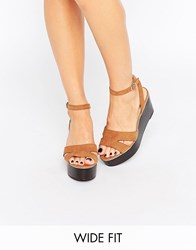 New Look Wide Fit Flatform Sandal Tan
