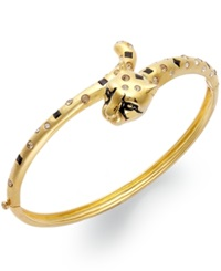 Sis By Simone I Smith 18K Gold Over Sterling Silver Bracelet Crystal Cheetah Bangle