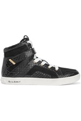 Balmain Blaze Suede And Elpahe High Top Sneakers Black
